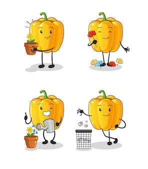 Le poivron jaune sauve le groupe de la terre. mascotte de dessin animé