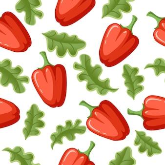 Poivron rouge frais et laitue verte illustration de modèle sans couture de légumes vecteur plat