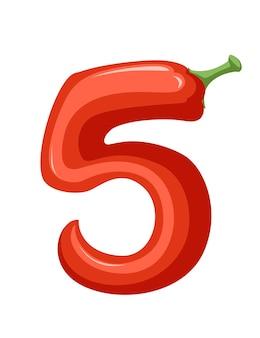 Poivron rouge numéro 5 style nourriture végétale dessin animé design plat illustration vectorielle