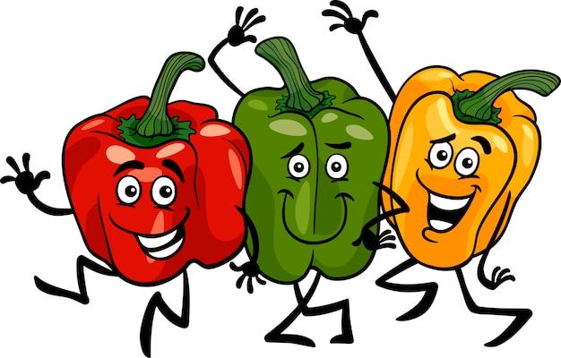 Poivrons, légumes, groupe, dessin animé, illustration
