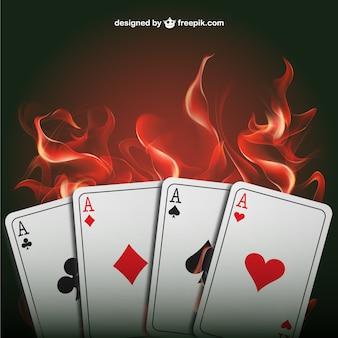 Poker d'as avec des flammes