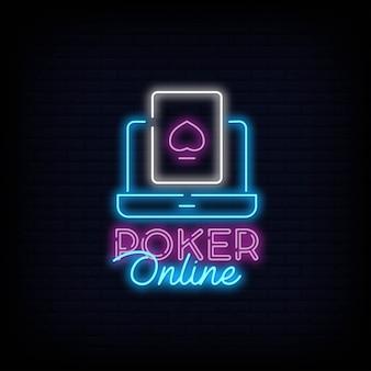 Poker casino en ligne enseigne au néon effet