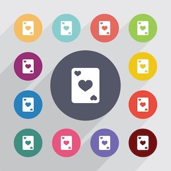 Poker, jeu d'icônes plat. boutons colorés ronds. vecteur