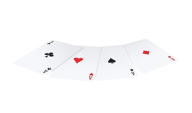 Poker réaliste jouant avec quatre as