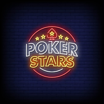 Poker stars neon signs style texte