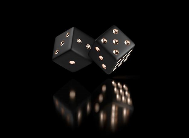 Dés de poker. vue de dés blanc doré. dés d'or de casino sur fond noir. concept de jeu de dés de casino en ligne isolé sur fond noir