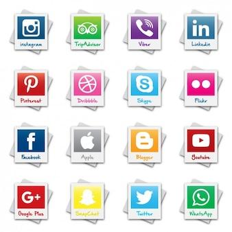 Polaroid social network logo collection
