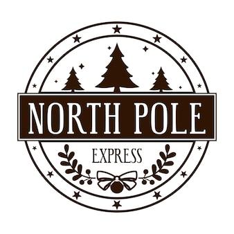 Pôle nord express conception de timbre rond pour lettres ou cadeaux faits à la main élément décoratif de noël