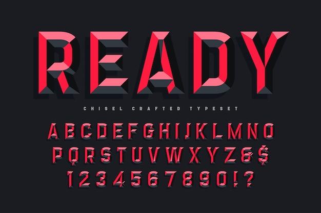 Police d'affichage conçue avec des facettes, alphabet, lettres