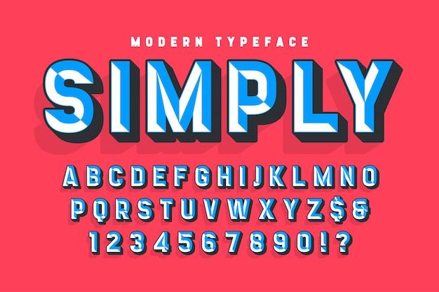 Police d'affichage conçue avec des facettes, alphabet