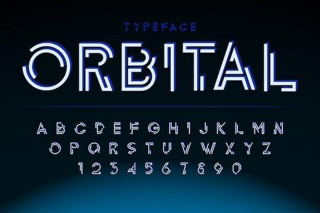 Police d'affichage futuriste, alphabet, jeu de caractères