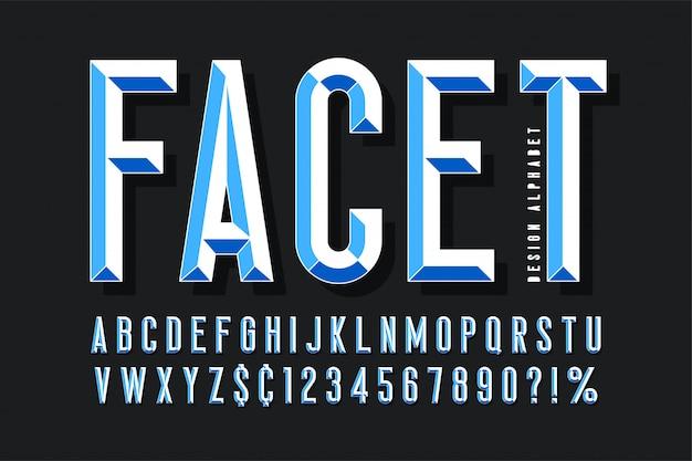 Police d'affichage originale avec facettes, alphabet, lettres et chiffres