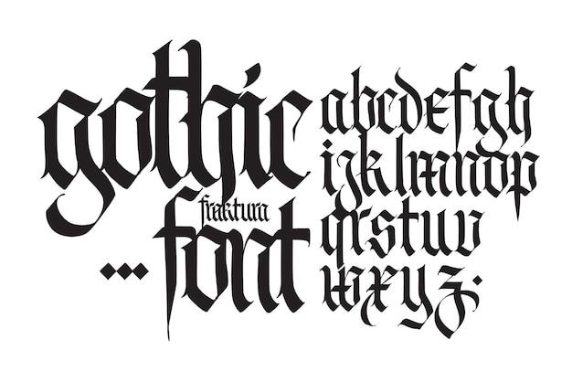Police de l'alphabet anglais gothique à des fins personnelles et commerciales de tatouage