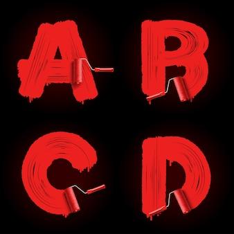 Police de l'alphabet brosse rouleau rouge