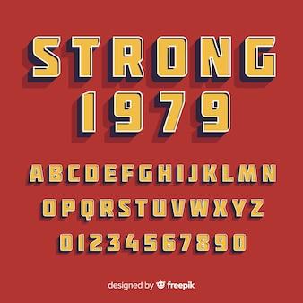 Police avec alphabet dans un style rétro