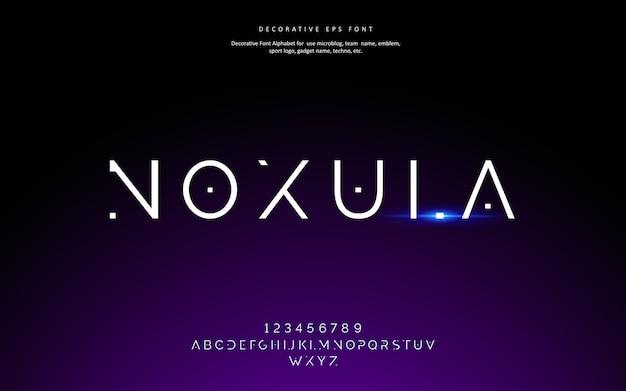 Police de l'alphabet décoratif futuriste galaxy minimaliste
