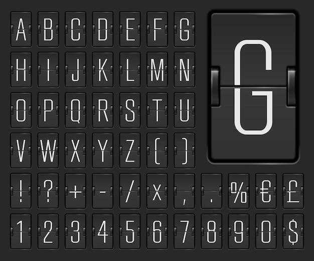 Police de l'alphabet du tableau de bord à bascule mécanique du terminal de l'aéroport étroit avec des chiffres pour afficher les informations et les horaires de départ, de destination ou d'arrivée du vol. illustration vectorielle.