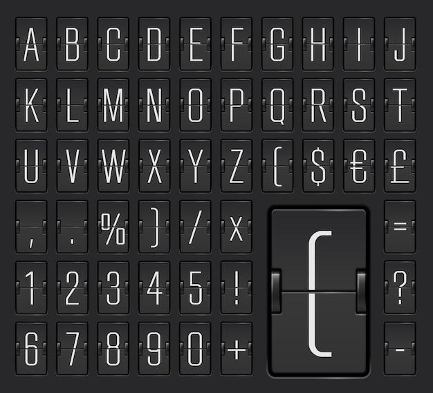 Police de l'alphabet du terminal du tableau de bord à bascule mécanique de l'aéroport léger avec des chiffres pour afficher les horaires de vol et la destination, les informations d'arrivée ou de départ. illustration vectorielle.