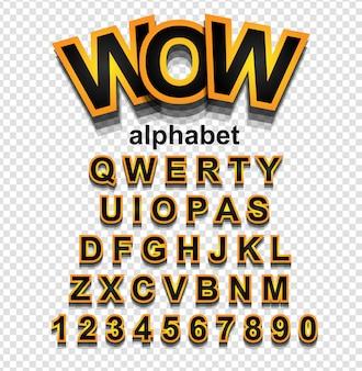 Police alphabet effet doré avec lettres et chiffres