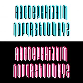 Police de l'alphabet isométrique, lettres d'effet 3d, chiffres et symboles avec ombres