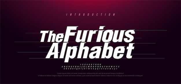Police alphabet italique moderne sport. typographie des polices de style rapides et furieuses