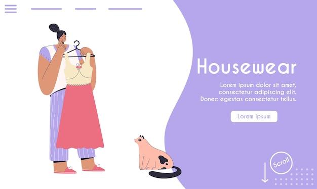 Police de l'alphabet moderne abstraite en page majuscule du concept de vêtements de maison