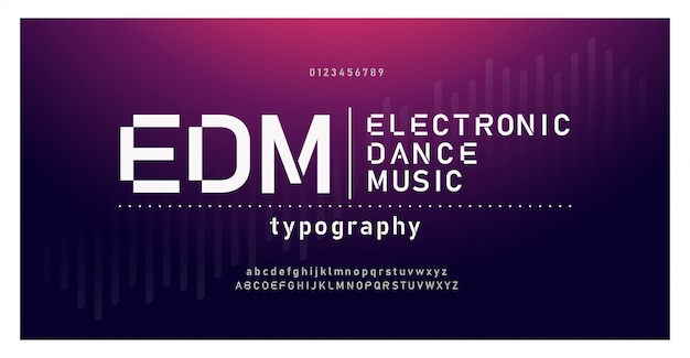 Police de l'alphabet moderne de musique numérique. typographie emd