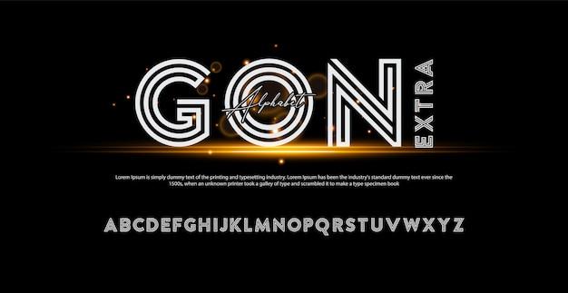 Police d'alphabet moderne de récompense. typographie attribuant des polices de style
