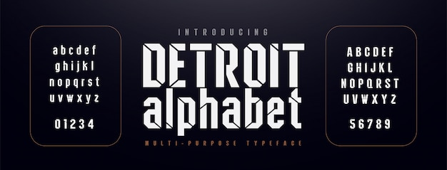 Police de l'alphabet moderne urbaine. typographie condensée