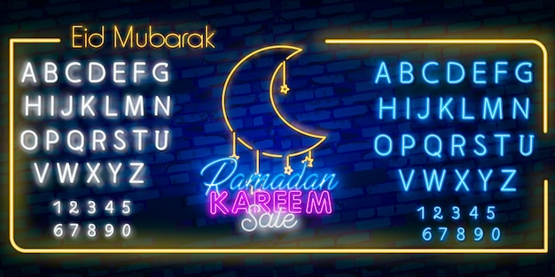 Police de l'alphabet néon et vecteur de signe au néon vente ramadan.