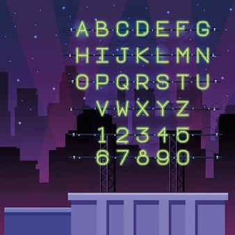 Police alphabet néons