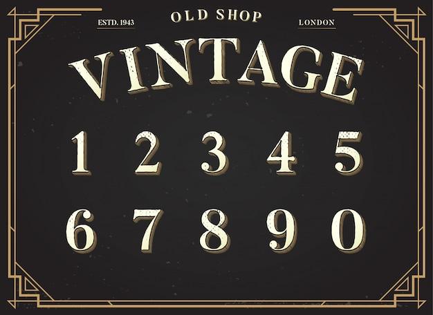 Police de l'alphabet. numéros 0 à 9 avec fond élégant élégant