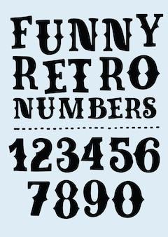 Police de l'alphabet rétro en détresse de style occidental. serif tapez des lettres, des chiffres et des symboles sales sur un fond texturé en bois foncé. typographie vectorielle vintage pour étiquettes, titres, affiches, etc.