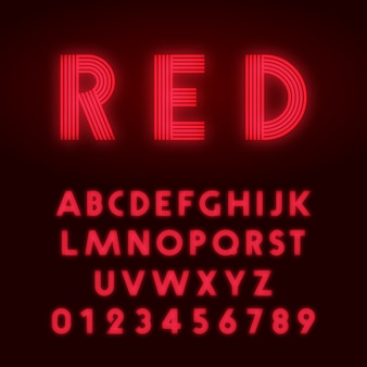 Police de l'alphabet rouge néon