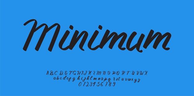 Police d'alphabet de script d'écriture manuscrite