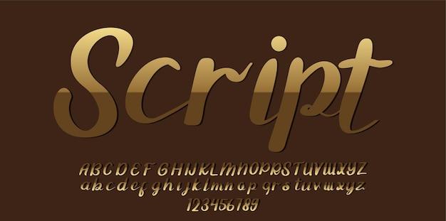 Police d'alphabet de script d'or
