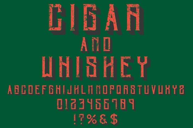 Police alphabet script typeface cigare et whisky manuscrits fabriqués à la main