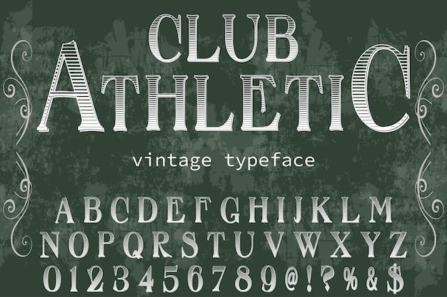 Police alphabet script typeface fait à la main conception d'étiquettes manuscrites nommé club athlétique
