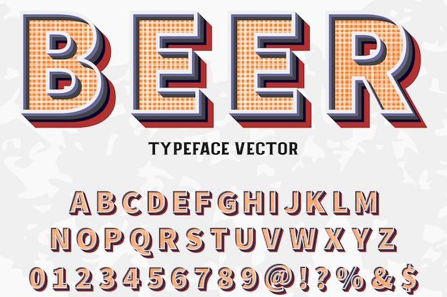 Police alphabet script typeface fait à la main nommé bière vintage