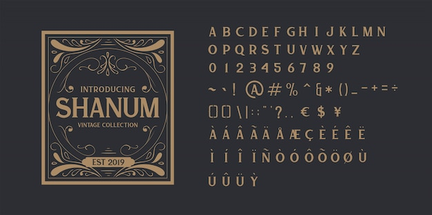 Police de l'alphabet vintage