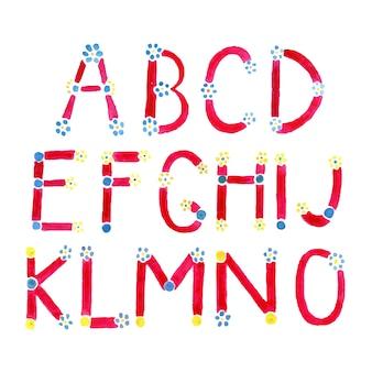 Police aquarelle. alphabet dessiné à la main.