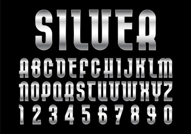 Police argentée, alphabet avec texture métallique.