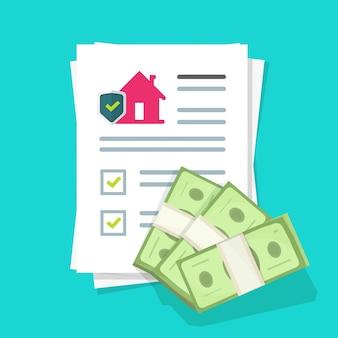 Police d'assurance habitation et contrat de protection de la maison ou document de liste de contrôle de l'accord juridique avec dessin animé plat de l'argent du prêt approuvé