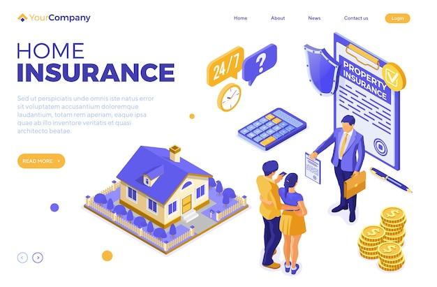 Police d'assurance habitation de la page de destination avec maison, assureur et famille