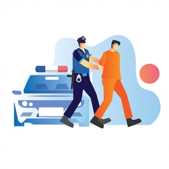 La police a attrapé un suspect dans une affaire criminelle avec une voiture de police