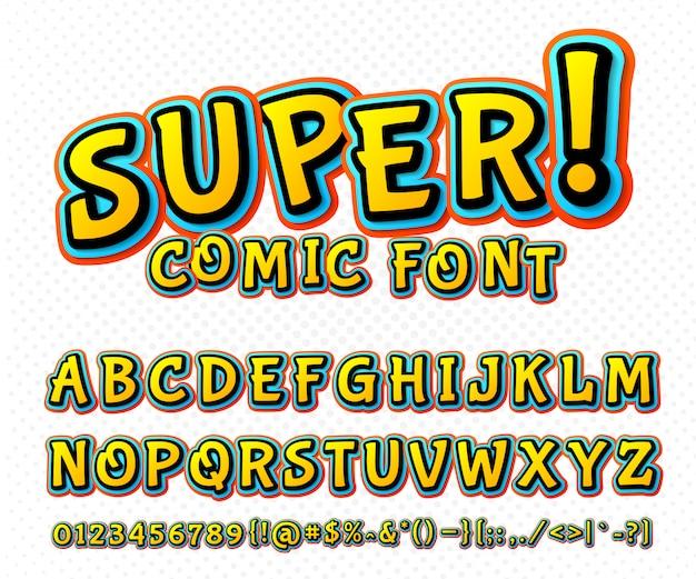 Police de bande dessinée colorée. typographie alphabet de vecteur dans un style pop art