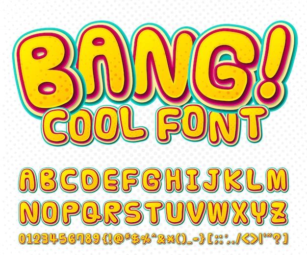 Police de bande dessinée cool, alphabet pour enfant dans le style du livre de bandes dessinées, pop art. multicouches drôles de lettres et de chiffres colorés
