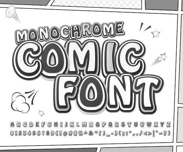 Police de bande dessinée créative en noir et blanc. lettres et chiffres monochromes en style pop art sur une page de bande dessinée