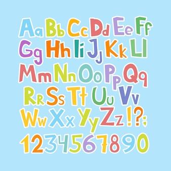 Police de bande dessinée drôle. alphabet anglais de dessin animé coloré en minuscules et majuscules dessinés à la main avec des lettres minuscules et majuscules. illustration vectorielle.