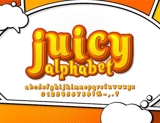 Police de bandes dessinées jaune et orange. alphabet de dessin animé à plusieurs niveaux